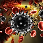 graphic illustration of a viral cell with red blood cells