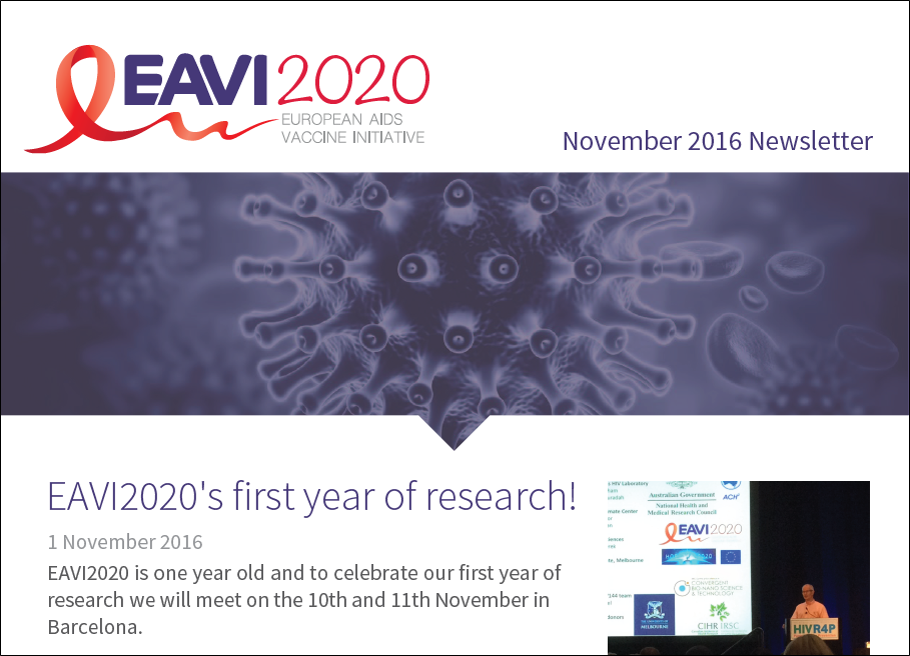 screenshot of the EAVI2020 November 2016 newsletter