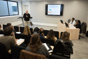 Tomas Hanke talking to students in a lecture room