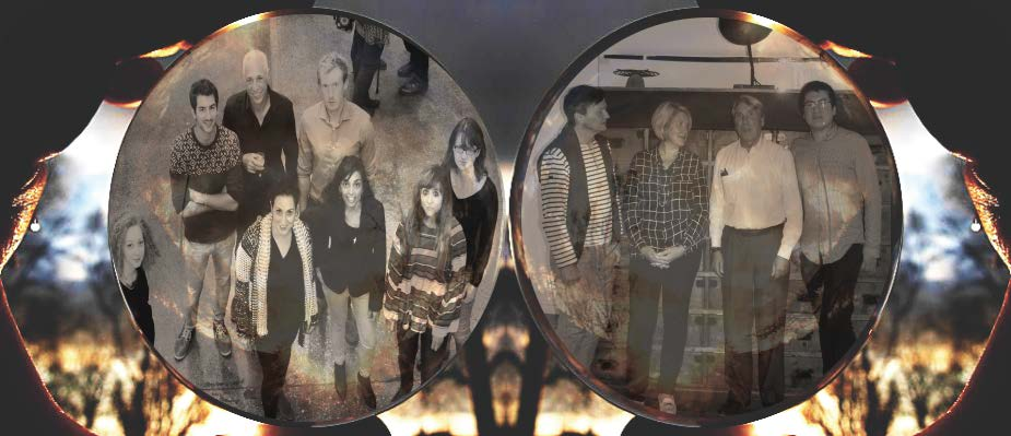 black and white photo of people through two focal glasses