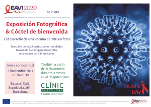 poster of text in Spanish and graphic illustration of an HIV virus cell