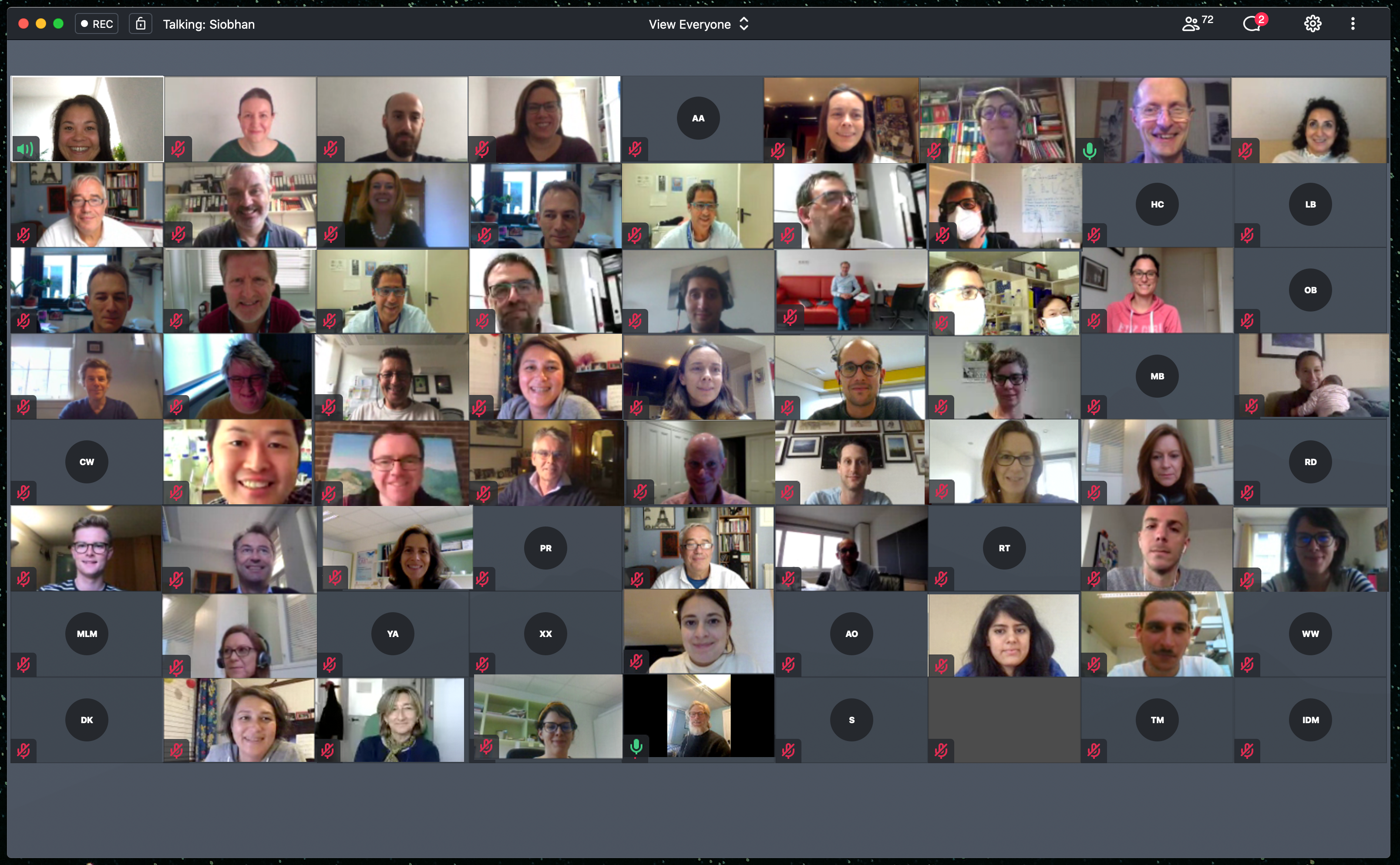 people on a virtual call with webcams on