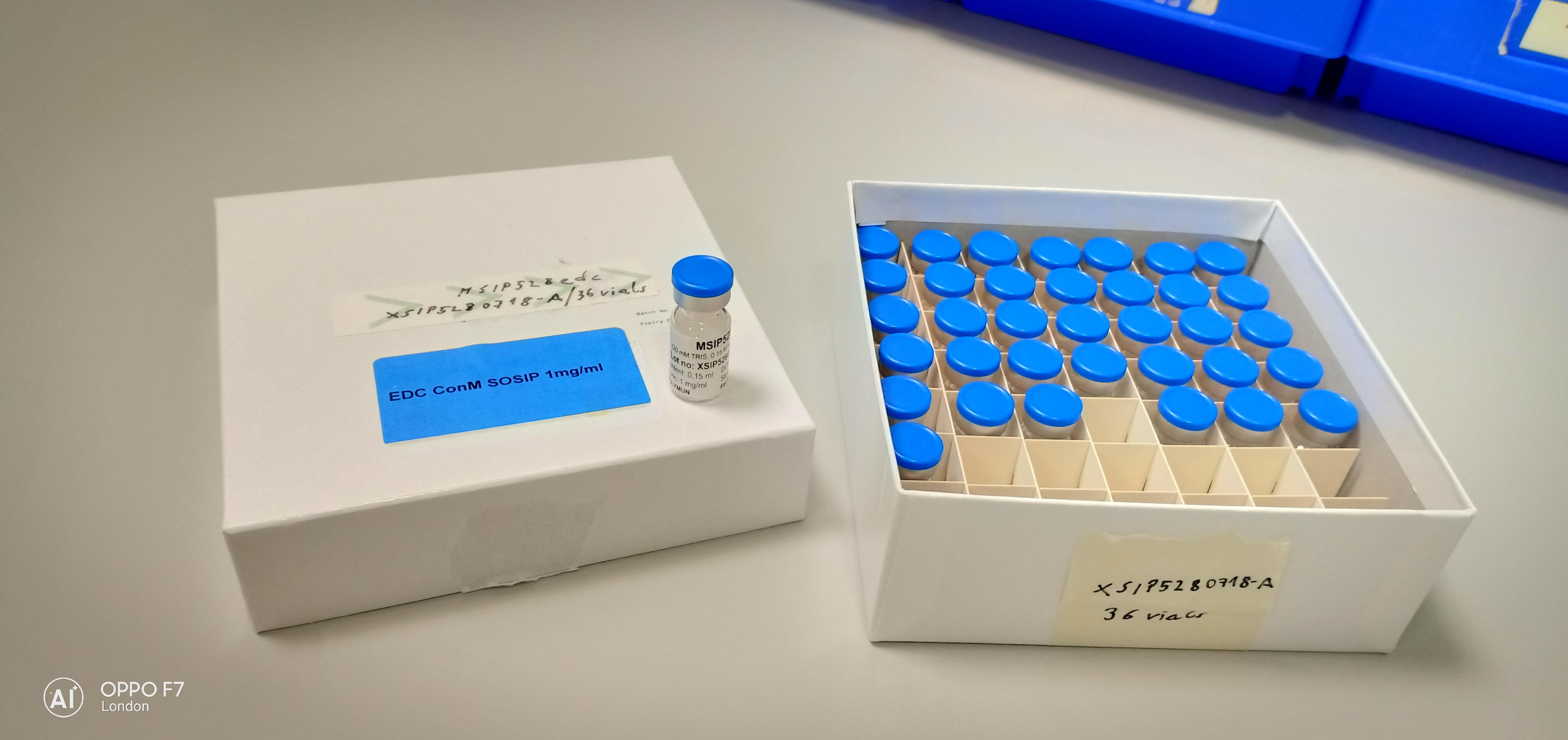opened box of 50 glass vials