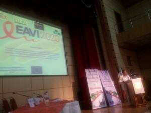 Joseph Munne on stage presenting an EAVI2020 seminar