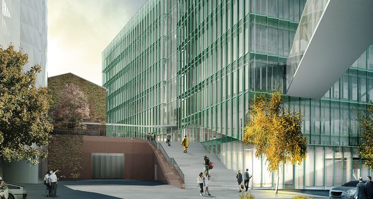 graphic illustration of a glassed building with people walking up stairs