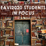 Bookshelves with an old door in the middle and overlaid text: eavi2020 students in focus