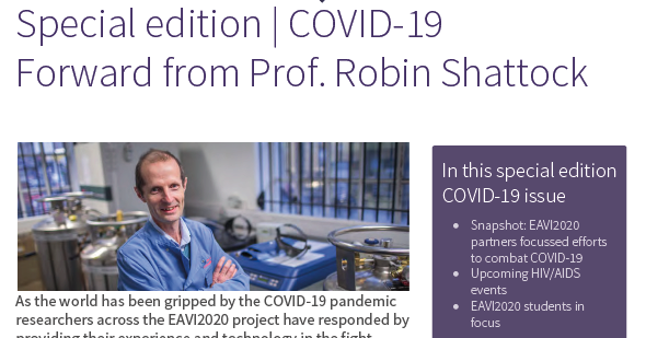 screenshot of the EAVI2020 newsletter May 2020_COVID19