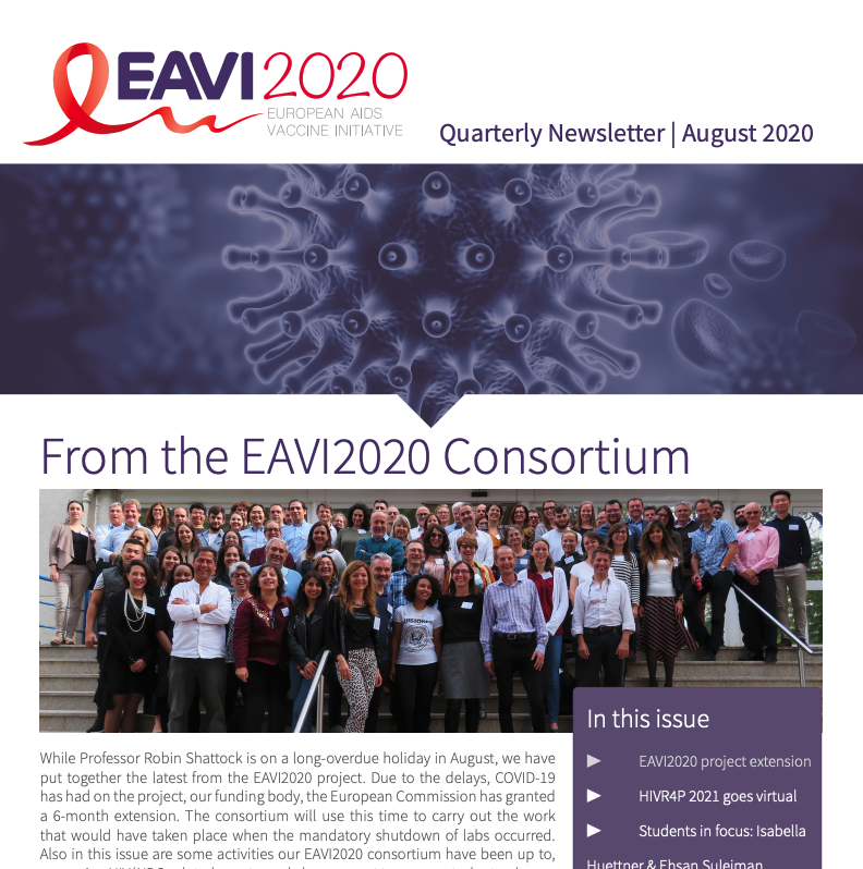 screenshot of the EAVI2020 august newsletter 2020