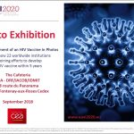 poster of text and graphic illustration of an HIV virus cell