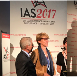 montage of photos of Robin Shattock, Gabriella Scarlatti and Rogier Sanders on stage talking at the IAS 2017